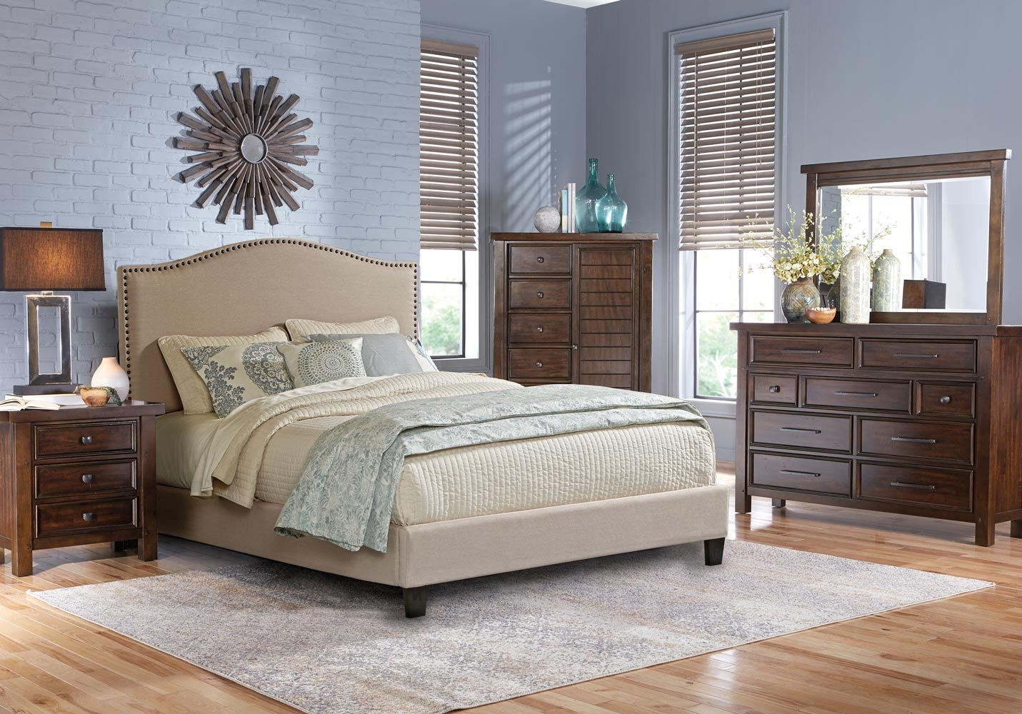 Upholstered Bedroom Sets Chantelle Upholstered Bed In Antique Silver Finish Acme 20540q With